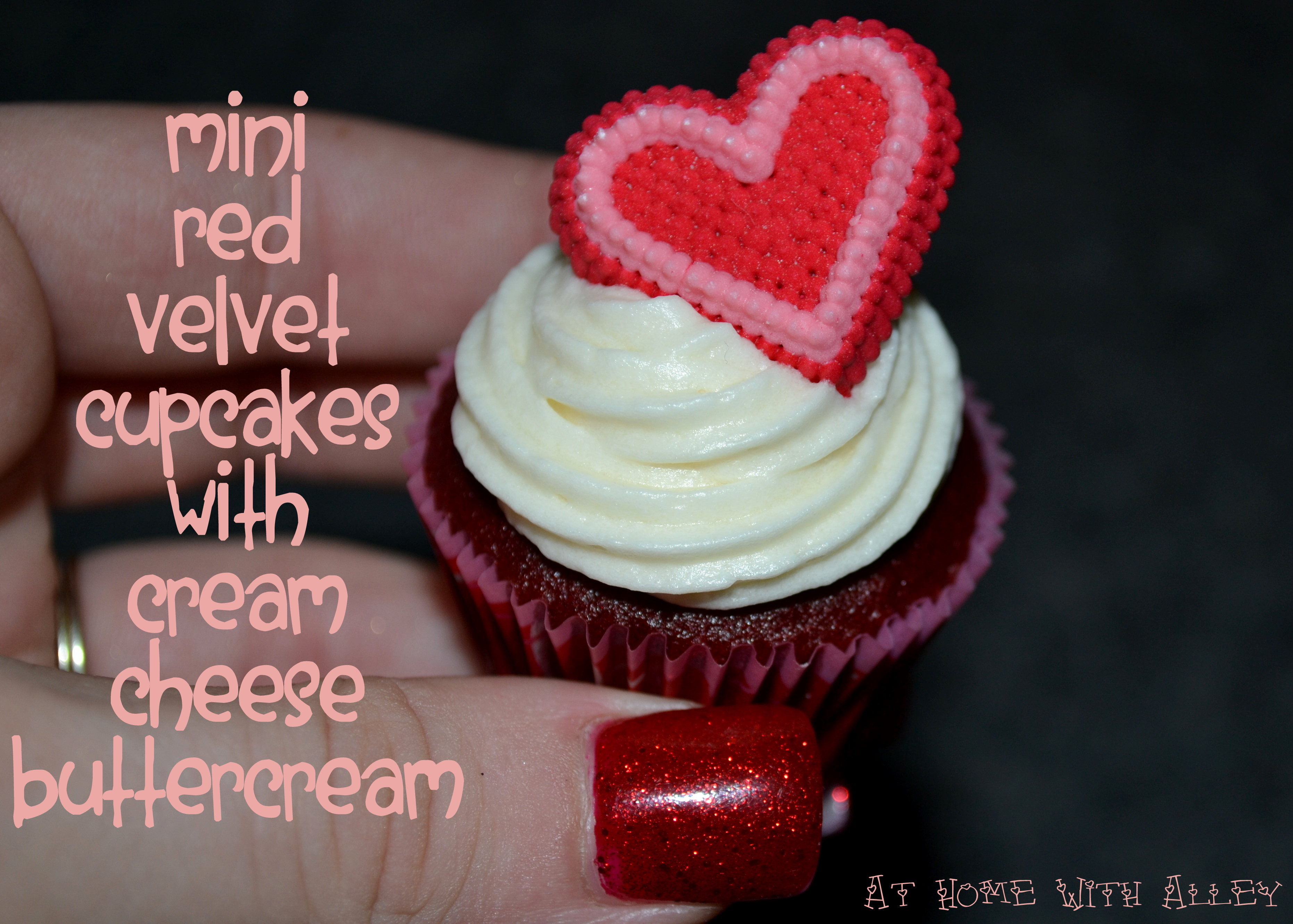 Mini Red Velvet Cupcakes with Cream Cheese Buttercream Frosting |